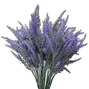 ShenHO Artificial Flocado Lavanda Bouquet – Flores Falsas Manojo Nupcial Inicio Bricolaje Piso Jardín Oficina Decoración de Boda-Púrpura (5pcs)