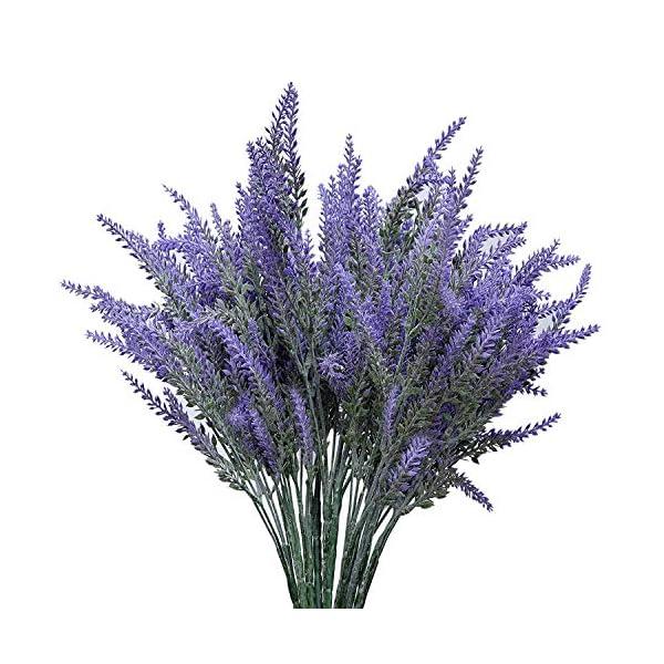 ShenHO Artificial Flocado Lavanda Bouquet – Flores Falsas Manojo Nupcial Inicio Bricolaje Piso Jardín Oficina Decoración…