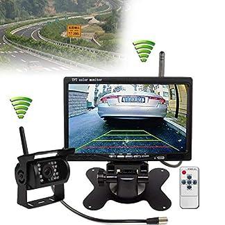 YUNRUX-Funk-Monitor-Rckfahrkamera-Set-7-TFT-LCD-KFZ-Monitor-18-IR-LED-Rckfahrkamera-mit-IP67-Nachtsicht-inkl-20-Meter-Anschlusskabel-12-24-Volt-fr-Bus-IR-Rckseiten-Kamera-Kit