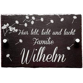 Gravur Motiv Strichmännchen Familie Schiefertafel Türschild Schieferplatte inkl