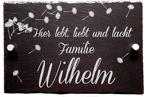 HC-Lasergravur Haustürschild mit Namen ✔ Hausschilder mit Namen aus Schiefer ✔ Familien Hausschild 20 x 30 cm ✔ Türschild Haus mit Name -✔ Befestigungsmaterial ✔ Türschild für die Haustür der Familie