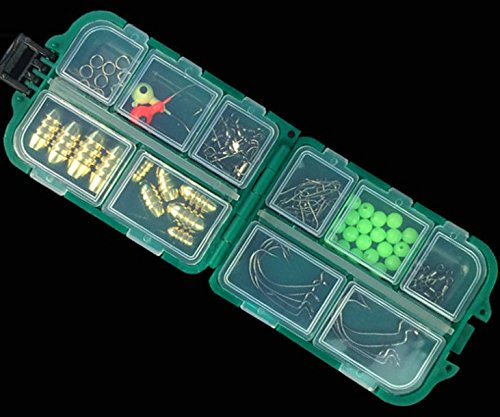 Milepet 83pcs Zubehör-Set für Texas Rig, Kugel Sinker, Haken, des, Löffel mit Haken, mit Wirbel-, Ring mit Perlen, Angeln Tackle mit Tackle Box für Rock -