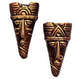 Home Decorative Terracotta Wall Hanging Copper Hibija Mask Pair-12.5 Cms. - Handcrafted Decorative Mask For Wall Decor, Room Decor And Gift