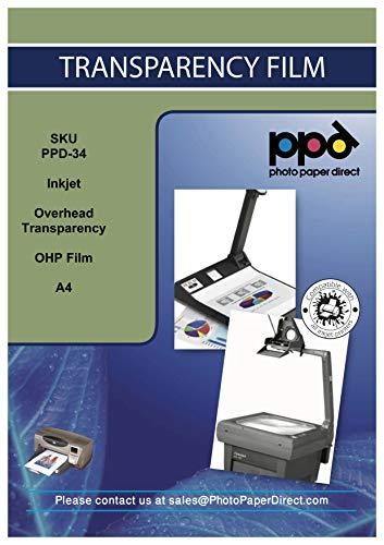 PPD DIN A4 Inkjet Transparentfolie - OHP Overheadfolie Für Tintenstrahldrucker Ohne Sensorstreifen, Neue Mikroporöse Beschichtung Für Schnelle Trockung und Vollfarbige Drucke DIN A4 x 20 Blatt PPD34-20