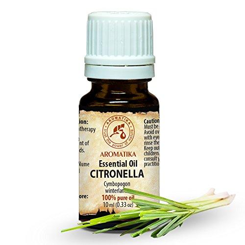 Zitronengrasöl 10ml - Cymbopogon Winterianus - 100% Reine & Natürliche Citronella Öl - für Schönheit - Aphrodisiakum - Aromatherapie - Duftlampe - Citronella Oil - Citronella Öl, Mückenschutz