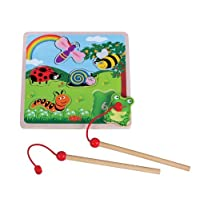 Lelin Children Kids Infants Wooden Magnetic Bug Number Jigsaw Puzzle Toy
