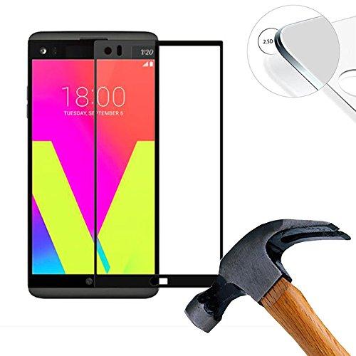2 X Pack (vollständige Abdeckung) Panzerglasfolie Schutzfolie für LG V20 5.7 Zoll Ultra Hart Bildschirmschutz Tempered Glass Folie Screen Protector (Schwarz)