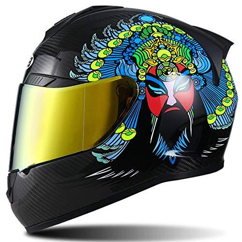 CAKUI Guan Gong-Kohlefaser-Motorradhelm von God of War, professioneller Offroad-Rennhelm, Vollvisier-Motorradhelm, DOT-zertifizierte Schutzkappe Helmet,L:58~60cm
