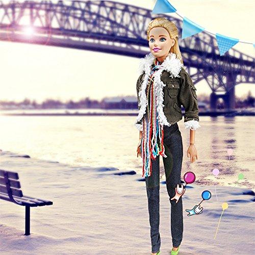 Zantec Winter Fashion Modern Outfit Casual Army Grün Jacke Schal Weste Hut Hose Schuhe Für Barbie Puppe 29cm Anna American Girl Puppe Kleidung