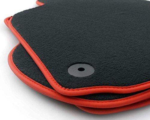 Fußmatten Golf 4 Bora GTI (Velours) Premium Automatten Nubuk schwarz/rot 4-teiliges Set