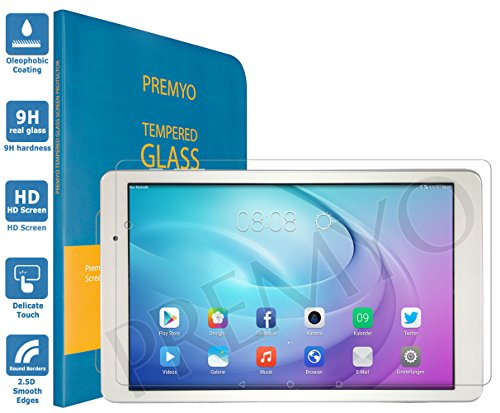 PREMYO Panzerglas Schutzglas Bildschirmschutzfolie Folie kompatibel für Huawei MediaPad T2 Pro 10.0 HD-Klar Anti Kratzer Blasen Fingerabdrücke