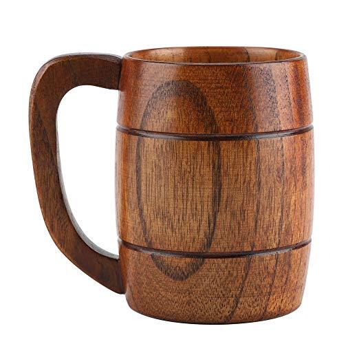 Taza de cerveza de madera natural de 350 ml, taza para beber café de té, accesorios para bar, ideas para regalos