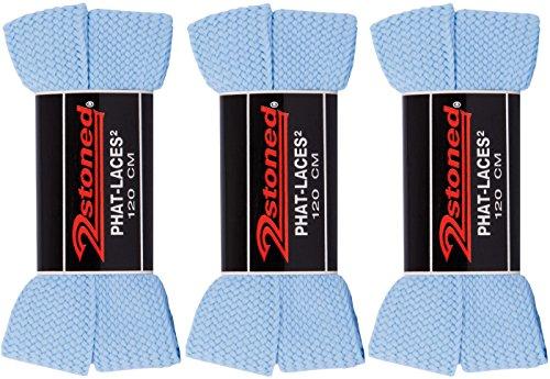 Original 2stoned Phat Laces Schnürsenkel 120cm lang und 3cm breit in 14 Farben Hellblau (3 Paar)