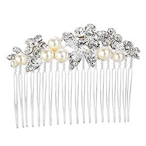 Clearine Damen Böhmisch Stil Künstliche Perlen Blume Beaded Kristall Hochzeit Braut Bling Haarkamm Haarschmuck