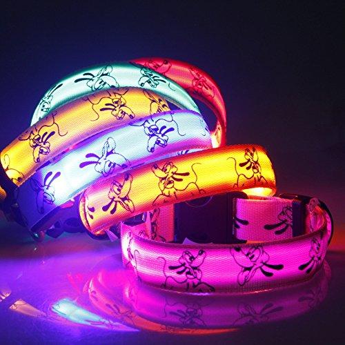 Eizur Regulierbar LED Hundehalsband Sicherheits Leuchthalsband Blinkendes Licht Haustier Halsbänder 3 Leucht-Modi Größe S–Rosa - 6