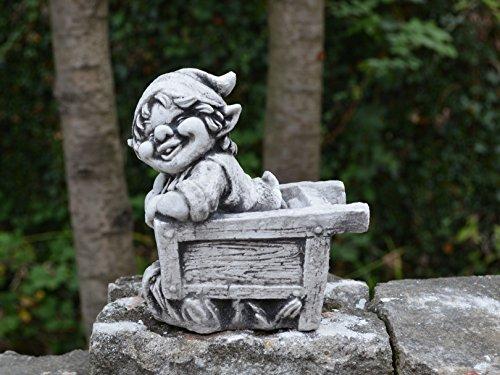 Lustiger kleiner Gnom V Troll Wichtel Fantasiefigur aus Steinguss frostfest - 3