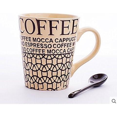 Le lettere dipinte a mano Coppia tazza di ceramica del latte Mark tazza tazza di caffè tazza On Home ( colore : Bianca