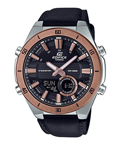 Casio EDIFICE Reloj en caja sólida de acero inoxidable, 10 BAR, Negro, para Hombre, con Correa de Cuero...