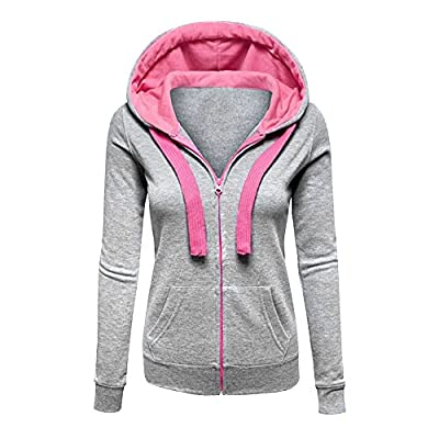 CHIC-CHIC Womens Plain Zip up Hooded Sweatshirt Hoodie Sports Outerwear Jacket