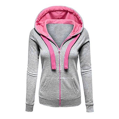CHIC-CHIC Womens Plain Zip up Hooded Sweatshirt Hoodie Sports Outerwear Jacket