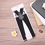 SUPOOGOCinturino da Uomo Clip Elastico Stretch Four Clip Strap Pantaloni 4 Clip X Hanging Pants Casual Business Decoration Shoulder Strap Clip