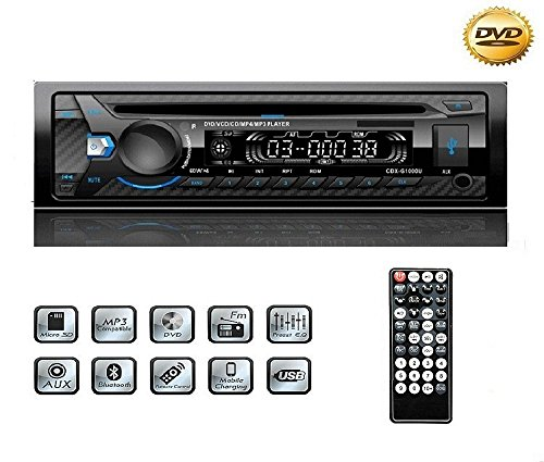Autoradio CD USB, YOSASO 1 Din FM Auto Radio Stereo Bluetooth DVD-Player / MP4 / CD/USB-Stick/SD-Karte mit Fernbedienung und Abnehmbarer Panel