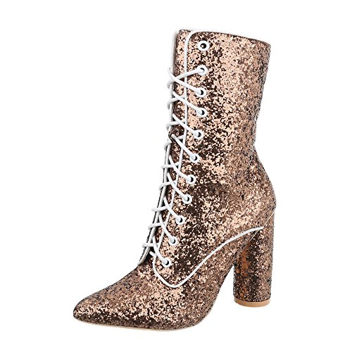 Ital-Design Schnürstiefeletten Damen-Schuhe Schnürstiefeletten Pump High Heels Schnürsenkel Stiefeletten Gold, Gr 41, Jr-002- (High Gold Stiefel Heel)