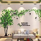 3D Stickers Muraux Arbre Stickers DIY Amovibles Mural Autocollants Arts Décoration de la Maison pour Chambre, Chambre Enfants, Cadeau de Noel (L-300 * 150cm, Vert Gauche)