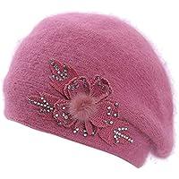 Boina de Las señoras de la Primavera y el otoño Mujer Sombrero Pintor Cálido Sombrero de Piel de Conejo Salvaje Amarillo Sombrero de Arce Sombrero Casual Boina Moda,Pink