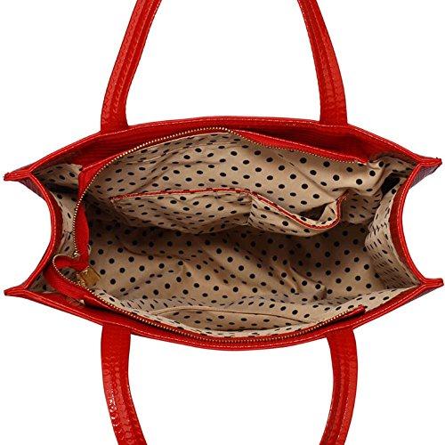 LeahWard® Große Größe Damen Patent Bogen Schultertaschen nett Berühmtheit Stil Tragetasche Handtaschen 383 A-Red