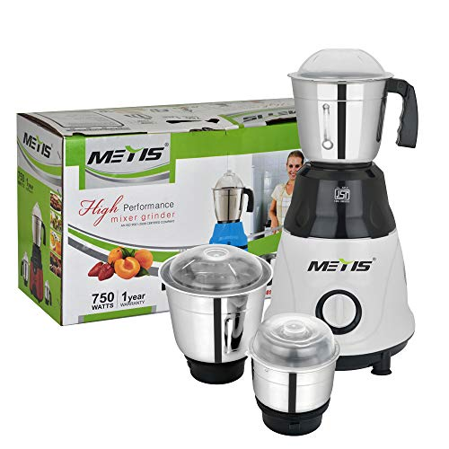 Metis 750-Watt MES-179 Mixer Grinder with 3 Jars, (White)