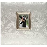 MBI - Album fotografico di matrimonio con viti, in tessuto a fantasia floreale con cornice metallica, 30 x 30 cm