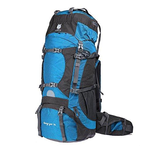 YYY-Zaino Outdoor alpinistiche di grande capacità professionale borse a tracolla borsa da viaggio impermeabile 70L maschile , dark red Blue