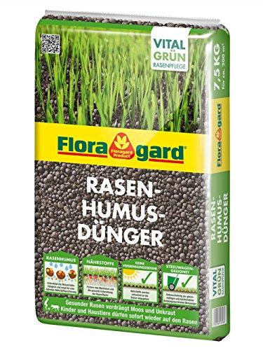 Floragard Rasen-Humus-Dünger 7,5 kg für 200 m² • zur Pflege von Rasenflächen • Rasendünger  • mit Langzeitwirkung • streuwagenfähig