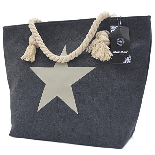 Vain Secrets Sternen Shopper Damen Handtasche Marine Look Kordeln Schwarz