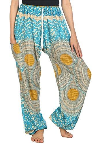 Lofbaz Pantaloni Coulisse da Donna Harem boemo bohemien Casual Aladdin Rose 2 Azzurro