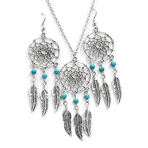 Imixcity® Hand made Silver Dream catcher Pendant Necklace Earrings Set (Dream Catcher Set)