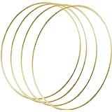 Sntieecr 4 Pièces 30 cm Grand Cerceau en Métal Anneaux en Macramé Florale d'or métal Couronne pour Bricolage Décor de Couronn