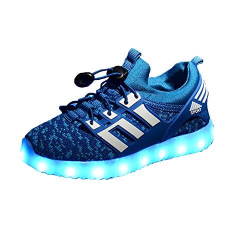 Chaussures Enfants 7 Couleurs de LED Lumineuse Clignotants USB Rechargeable Multicolores Mode Sports Baskets pour Garçons et Filles Unisex