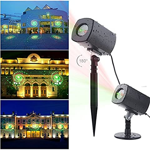 YMing Led Projektionslampe, LED Projektor Lampe IP65 mit Farbewechsel Galaxis Lichteffekt Weihnachten Projektor Dekoration Innen und Außen, Gartenleuchte Projektor, Mauer Dekoration, Party Licht, Gartenlicht für Festen (Rot+Grün)