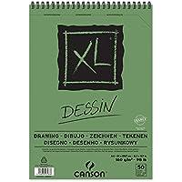"""'Canson XL Dessin–Bloc de dibujo, fácil gekörnt 160g/m2, 50hojas por bloque""""espiral en el lado más corto, color blanco, color weiß 210 x 309 mm"""