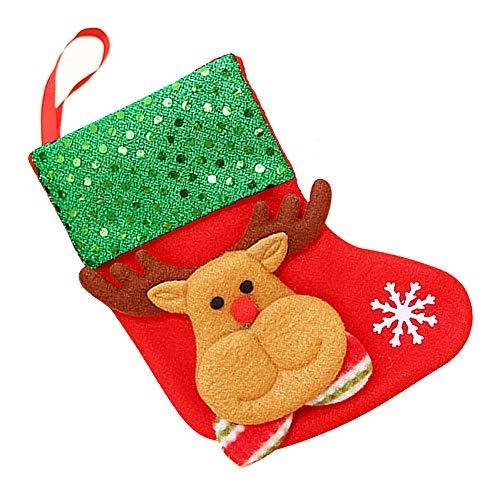Junyee Weihnachtsstrümpfe Socken, Merry Christmas Tree Decor Crafts Hängende Verzierung (Rentier)