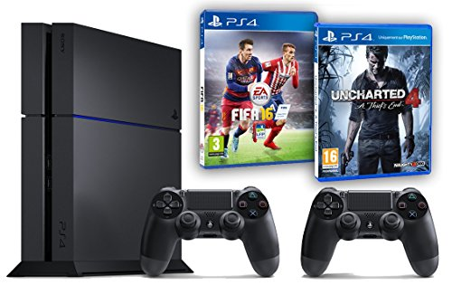 Pack PS4 500Go + 2ème manette + Uncharted 4: A Thief's End + Fifa 16