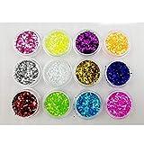 Boocy 12 BOX color glitter Dust nail art glitter flash polvere nail art decorazione