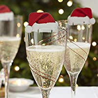 10pcs Xmas Hats Champagne Wine Glass Caps Christmas Holiday Decorations in Party