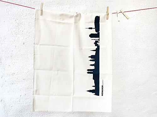 Torchon Munich en coton bio - Coloris différents - City Towel de 44spaces Natur/Schwarz