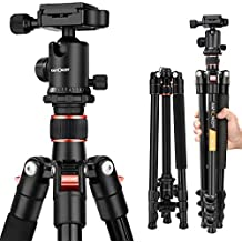 """K&F Concept Compact Camera Tripod 62"""" Aluminium 10kg Load Capacity Light Tude with Ball Head and Carrying Bag for Travel for Canon Nikon Sony-Orange"""