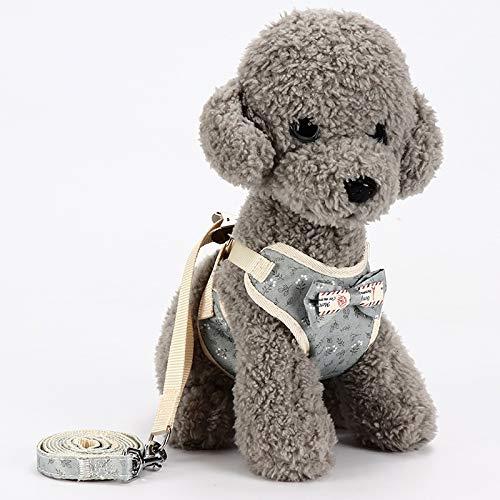 Hundeweste Brustgurt mit Zugseil, aus der Hundekette, kleiner Hundezubehör, Haustierleine, Bogen, 6 Farben optional (Color : Light Pink Dot, Size : M) -