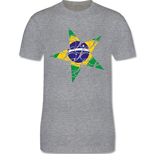 Länder - Brasilien Stern - Herren Premium T-Shirt Grau Meliert