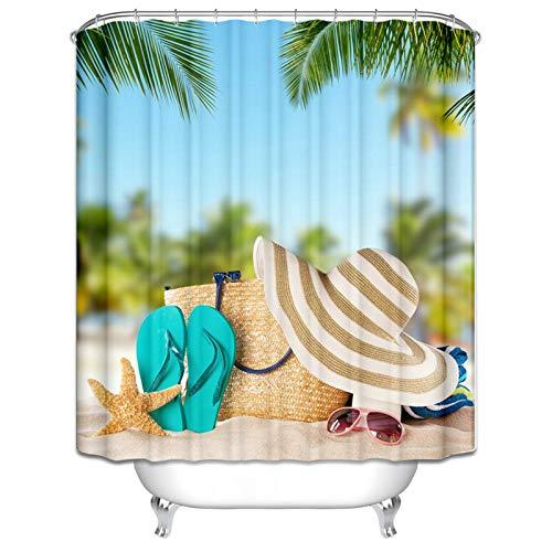Amody Duschvorhang für Badewanne Stoff Strohhut Flip Flops Sonnenbrillen Seestern Duschvorhang Waschmaschine Bunt Duschvorhangstange Badewanne 180x200CM